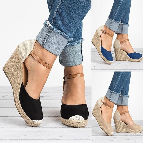 89f2c24446423 Compre Verano Mujer Cuña Alpargatas Casual Hebilla Correa Zapatos De Tacón  Alto Plataforma De Las Mujeres Sandalias 2018 Moda Pescador Negro Zapatos  Mujer A ...