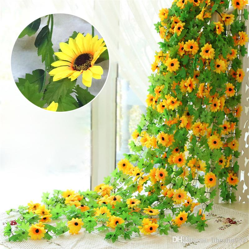 Artificial Flowers Fake Sunflowers Leaf Plant Home Garden Bouquet Table I4C3