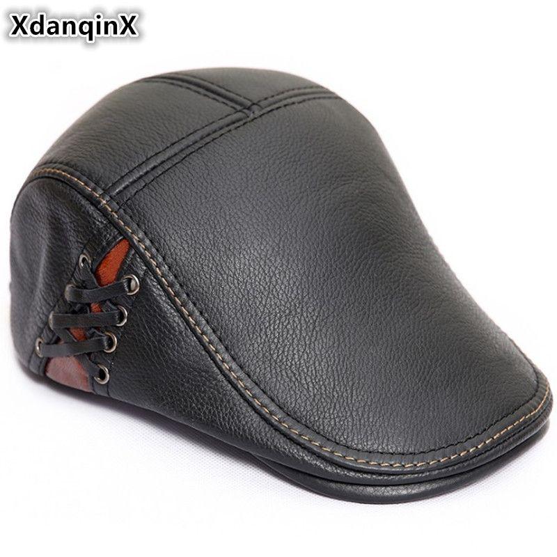 5822ec84b XdanqinX 2018 New Style Autumn Winter Men s Beret Genuine Leather Hat  Fashion Cowhide Warm Tongue Caps For Men Brands Flat Cap