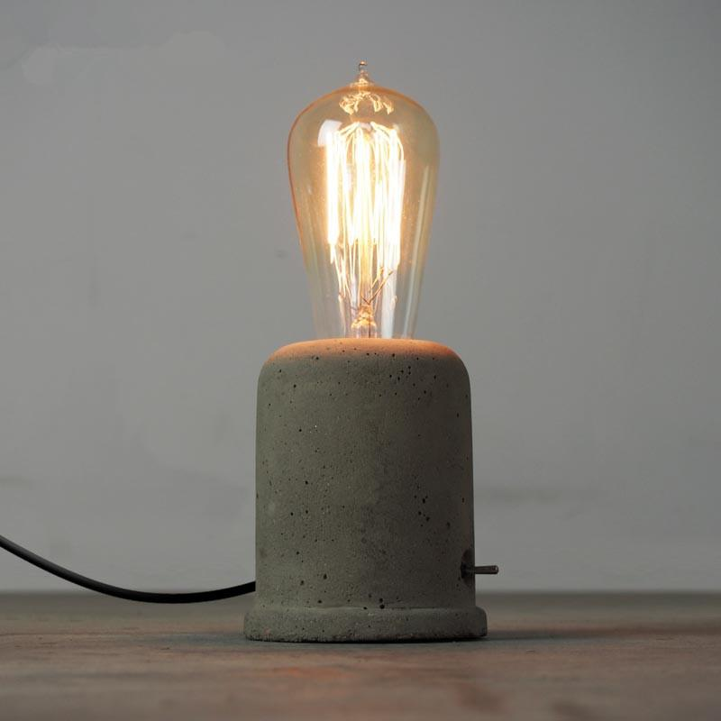 2019 Vintage Loft Concrete Cement Table Lamps Bedroom Bedside Lamps