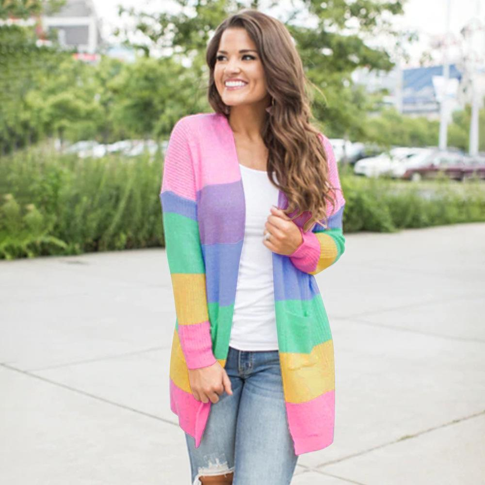 efc095f5559 2019 Women Sweater Fall Sweaters For Women Neon Stripe Cardigan Pastel  Sweater Casual Flat Knitted Striped Long Cardigans From Manxinxin