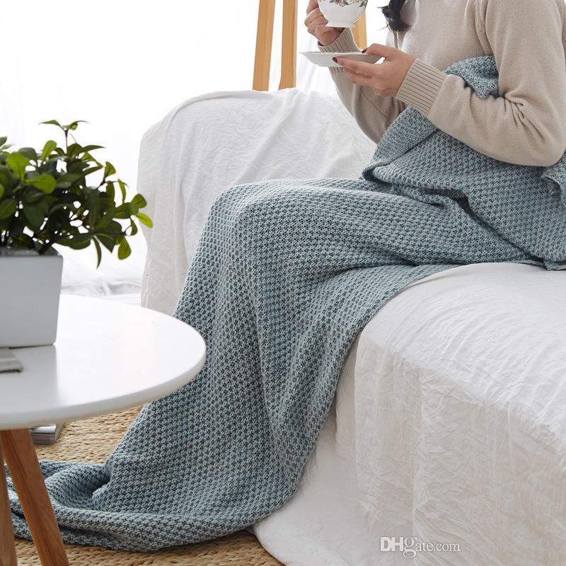 Bebé Niños Adultos de punto Mermaid Tail manta mantas de sirena crochet hecho a mano tirar cama Wrap super suave saco de dormir Envío Gratis