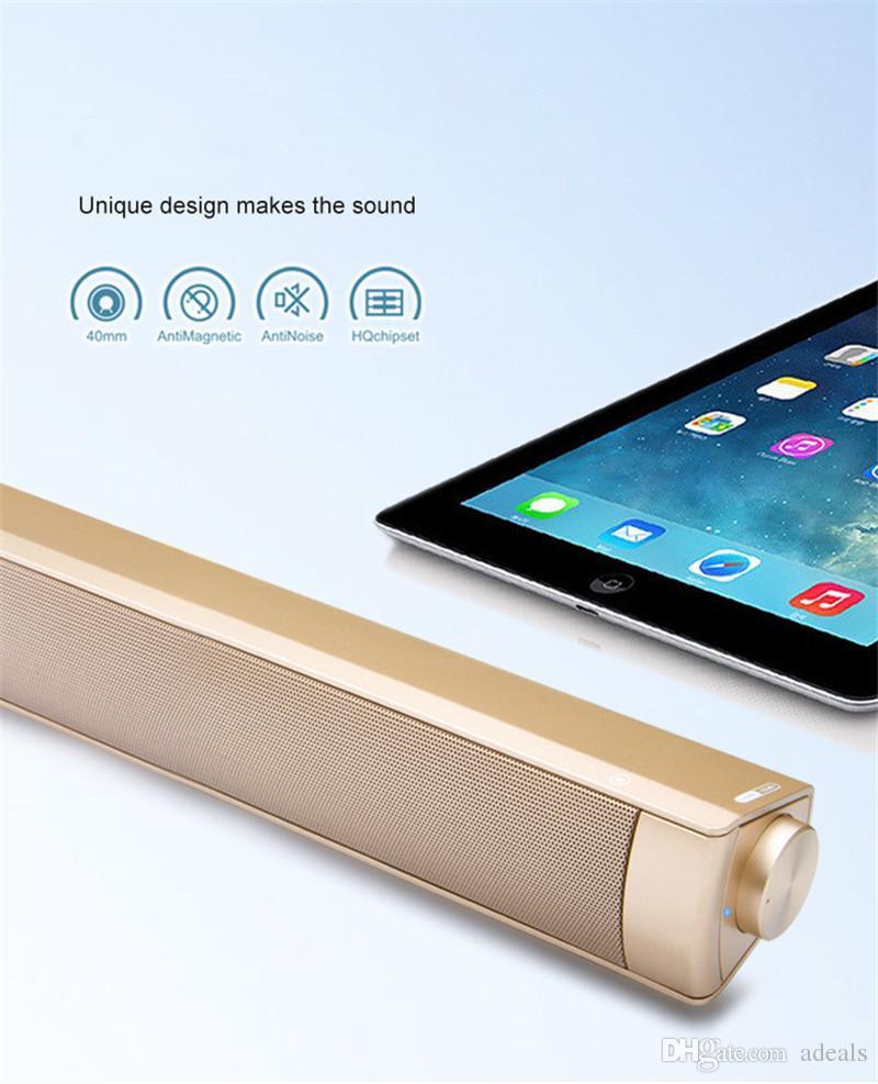 Altoparlante Bluetooth Sound Bar - Sistema di altoparlanti multimediali a 2.0 canali - Microfono incorporato - Altoparlante TV Riproduttore audio Music Box Radio