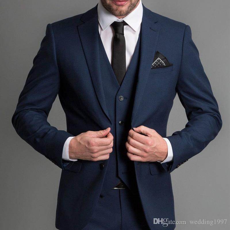 الأزرق الداكن الرسمية الدعاوى سليم صالح لحضور حفل زفاف البدلات الرسمية 3 قطعة حقق طية صدر السترة مخصص الأعمال العريس سهرة سترة + سروال + سترة