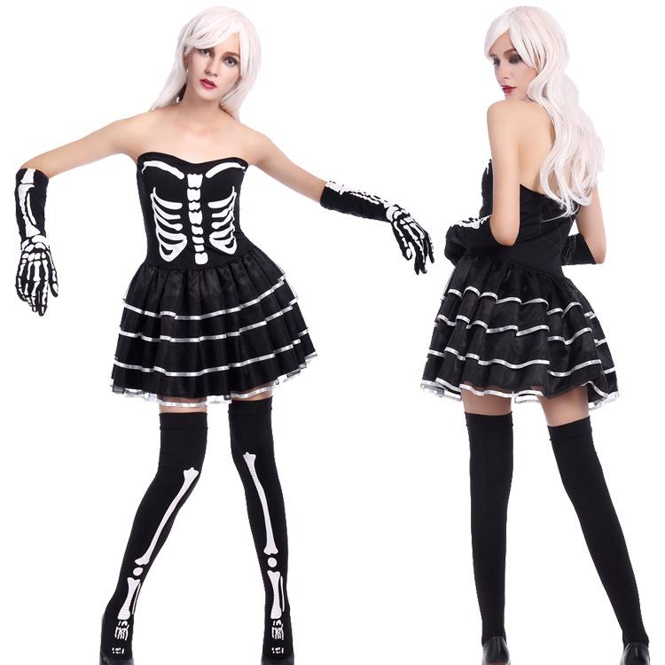 Halloween Zombie Costumes For Girls.Women S Sexy Skeleton Costume Zombie Costume Miss Skeleton Black Dress Halloween Party Fancy Dress Adult Ghost Scary