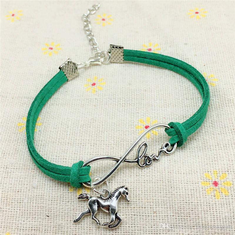2018 New Fashion Vintage Cute Animals Antique Silver Lucky Horse Handmade Charms Infinity Love Leather Bracelet for Women Gifts Accessories