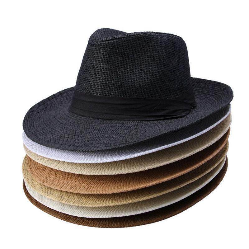 Fashion Unisex Hat Men Women Summer Sun Beach Grass Braid Fedora Trilby  Wide Brim Straw Cap NNA320 Grass Hat Straw Hats Brim Cap Online with   2.85 Piece on ... 3630a13edc1e