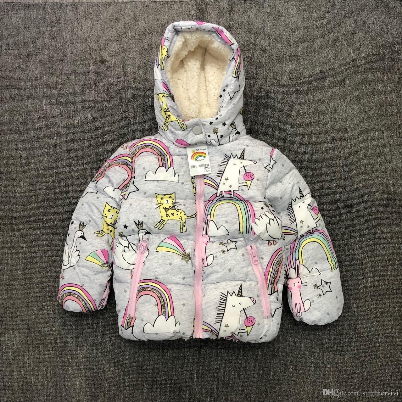 d04657a9f Winter Kids Unicorn Coat Boys Girls Pony Cartoon Printed Fleece ...