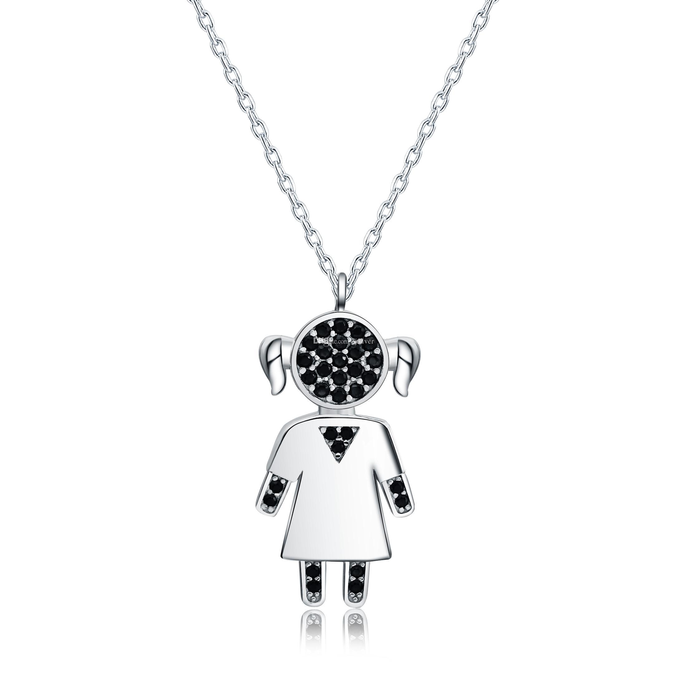 72c915b1bb36 Compre Collar De Plata Sólido Girl Girl Con Colgante Negro Zircon Collar De  Cadena Familiar Familiar Para Niños Sólo Para Mujeres Colgante Sin Cadena A  ...