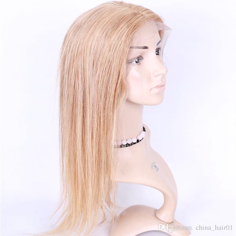 # 27 Honey Blonde Peruano Cabello Humano Pelucas rectas largas Fot Negro mujer Light Brown Glueless Full Lace Lace Pelucas delanteras con pelo de bebé