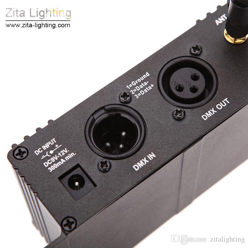 2 Pçs / lote Zita Iluminação Sem Fio DMX 512 Iluminação de Palco 2.4G Transmissor Receiver Display LCD Repetidor Ajustável de Energia Controlador de Iluminação