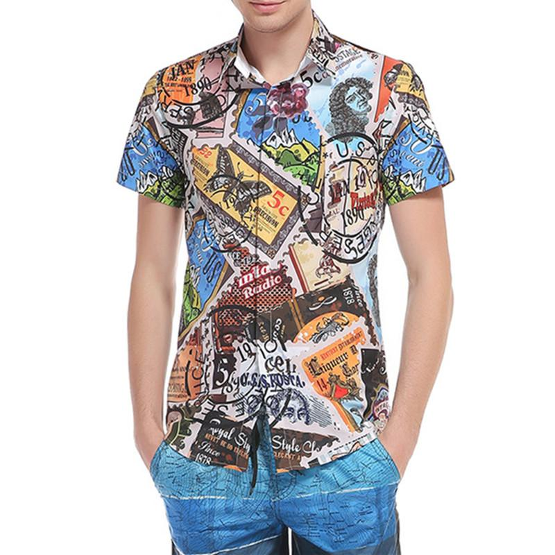 c3e41d1c 2019 Summer Hawaii Beach Men Shirts Vintage 3D Stamps Printed Male Short  Sleeve Casual Slim Tops Shirts Plus Size Chemise Homme DC30 From Bailanh,  ...