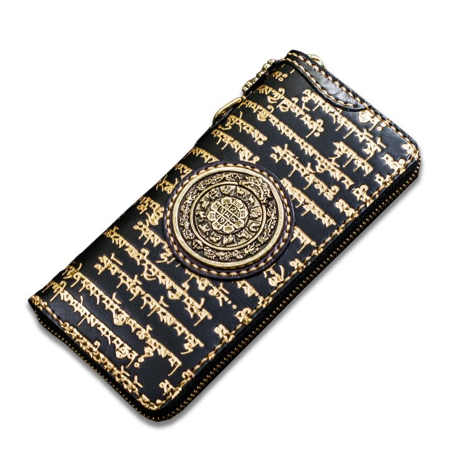 genuine leather gilding tibetan scriptures wallet new unisex nine palace  eight diagrams purse, manual buddhist scriptures wallet rodeo wallets wallet