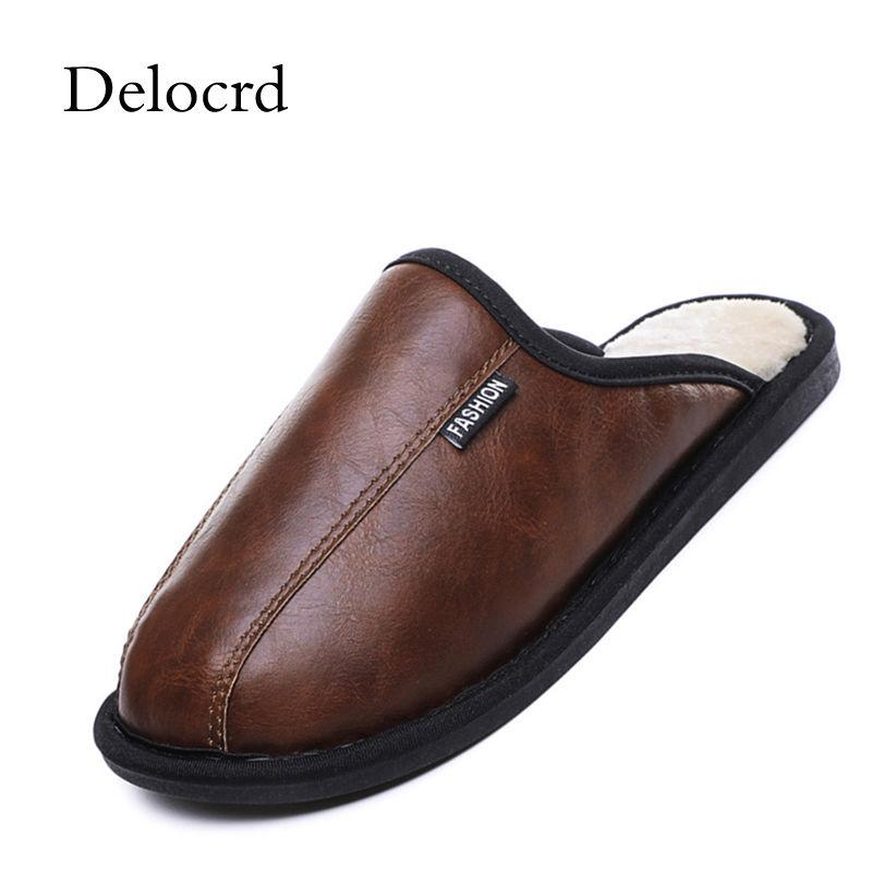 a8d5a84425 European Style Mens Winter Slippers PU Leather Warm Home Slippers Men  Fashion Plush Warm Slippers Indoor Ankle Boots For Women Italian Shoes From  Liuyangbag ...