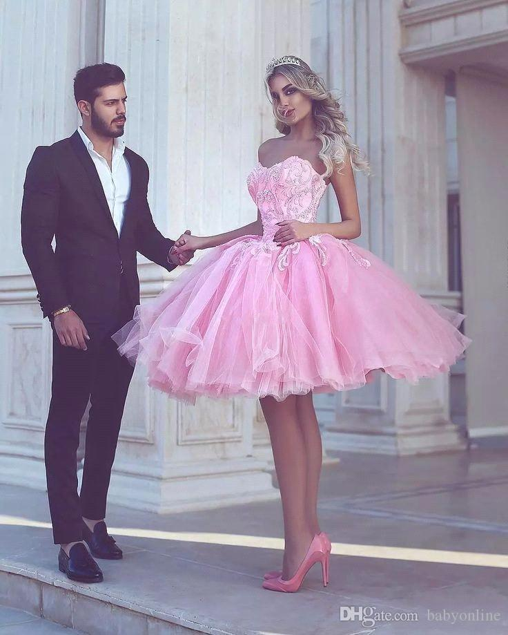 4f8794eb14 2019 Beaded Sweetheart Short Pink Homecoming Dresses For JuniorsTulle Puffy Cocktail  Party Dress Sweet 16 Prom Graduation Gown BA6587 Sexy Dress Gowns From ...
