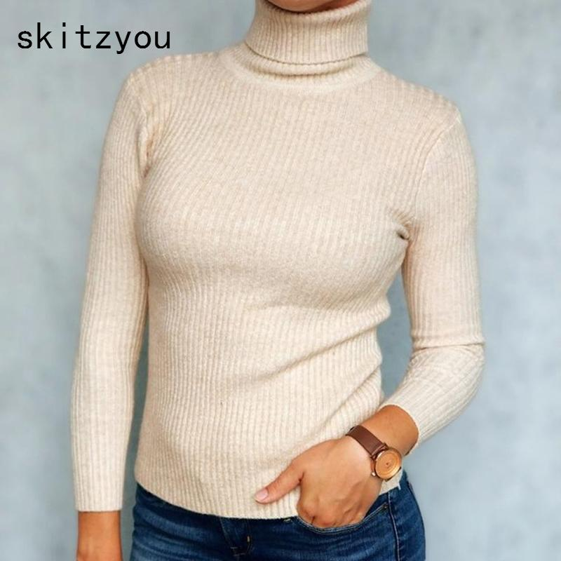 782c3a5c9461b5 2019 Skitzyou Thick Turtleneck Warm Women Bottoming Sweaters Autumn Winter  Knitted Jumpers Elastic Soft Long Sleeve White Pullovers L18100704 From  Tai002, ...
