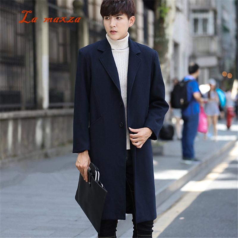 7542bab8d7a42 2019 Plus Size 2018 Mens Winter Coats Pockets Korean Style Dress Coat Mens  Long Coat Plus Size High Quality From Xaviere