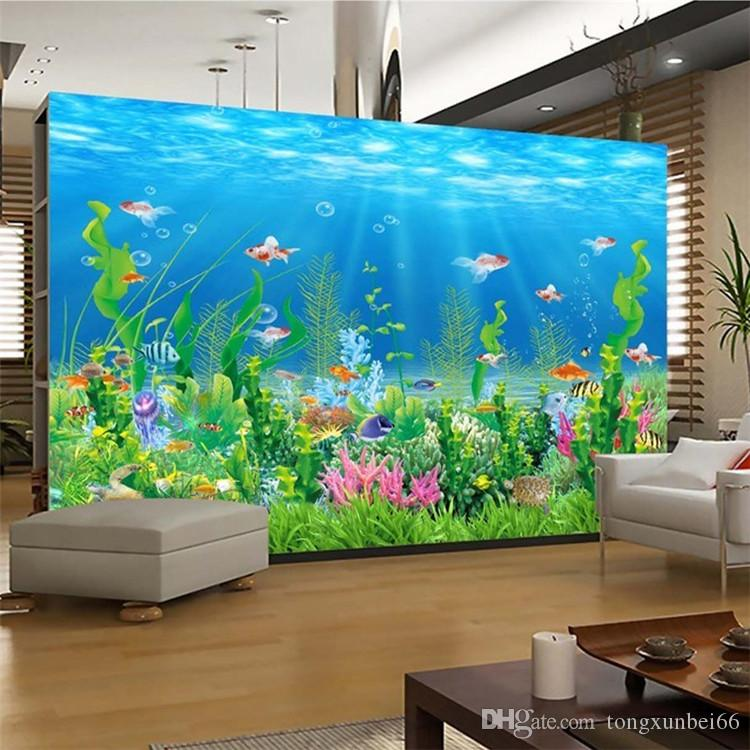 Cartoon Seabed Fish Seaweed Wall Mural Custom Kids Wallpaper For Walls  Children\'S Bedroom Wall Paper Home Decoration TV Backdrop High Resolution  ...