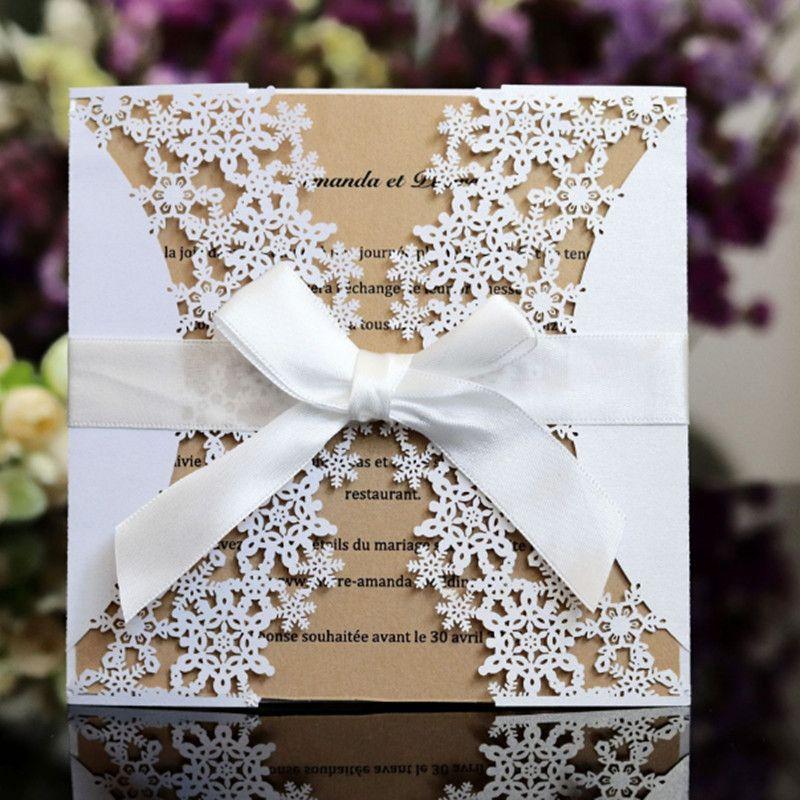 snowflake laser cut wedding invitation card elegant hollow winter