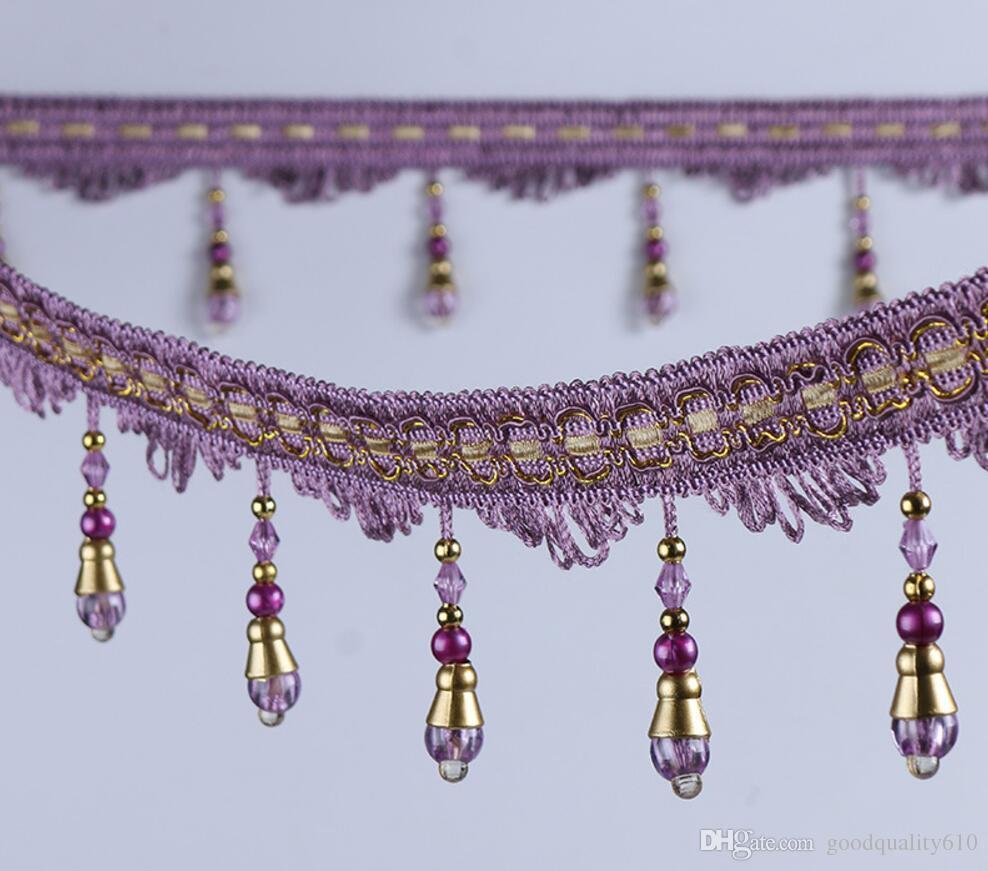 12 metros bola de cristal del grano de la borla colgante colgante del cordón del ajuste de la cinta para las cortinas de la ventana del banquete de boda decorar prendas de vestir de costura diy