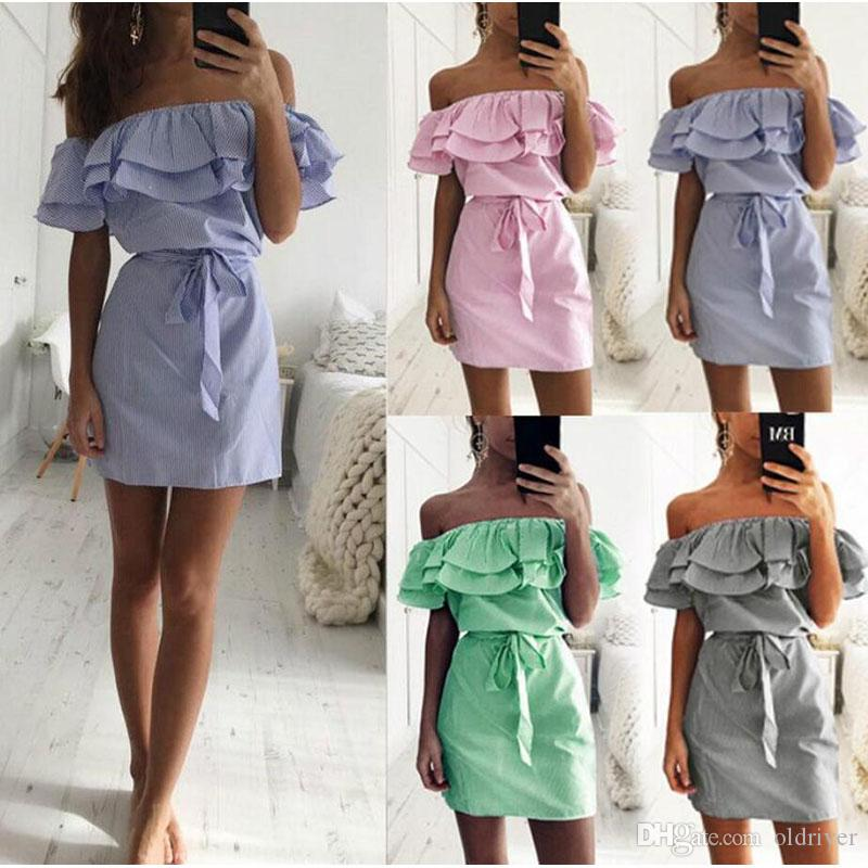 f58e8478c072 Off Shoulder Strapless Striped Ruffle Dress Women Summer Sundresses Beach  Casual Shirt Short Mini Party Dresses Slim Dress With Belt Dresses On Sale  ...