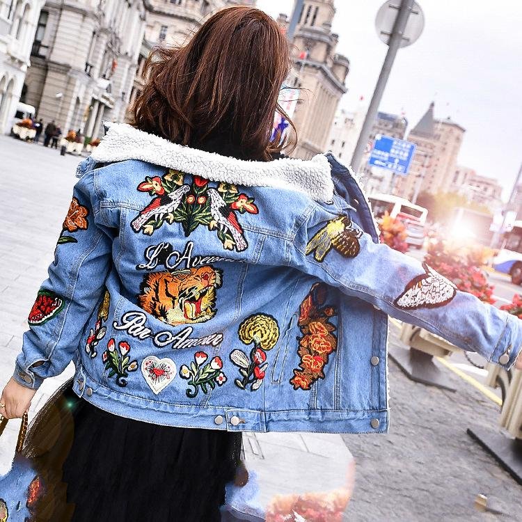 2018 Winter New Fashion G Women's Clothing Tiger Embroidered Denim Jacket Plus Velvet Thick Lamb Wool Embroidery Jacket Size S-XL