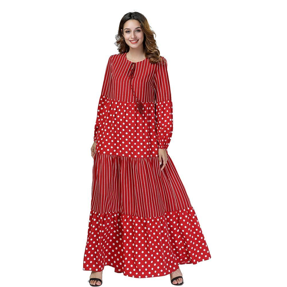 2018 muslim women dress stripe polka dot loose casual patchwork gown