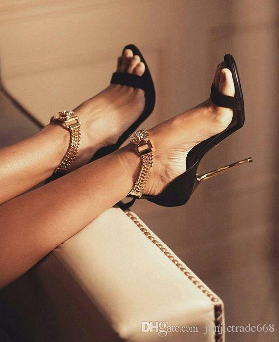 2018ss New list genuine leather dew metal decorative high heels shoes sexy T stage catwalk fashion women sandals