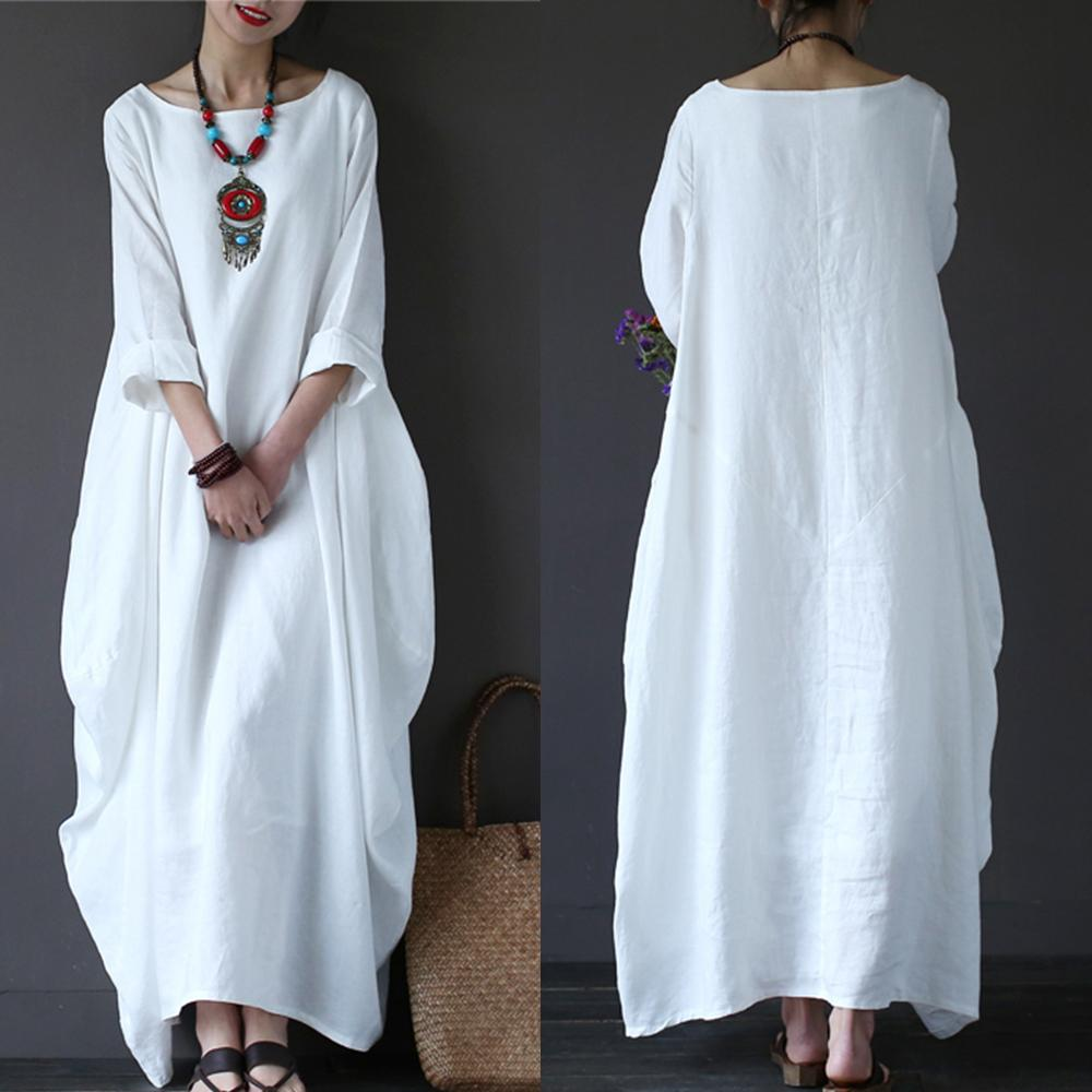 b17847b1dc Cotton Linen White Maxi Dress Women Spring Summer Loose Plus Size Big Hem  Boho Robe Long Dresses Three Quarter Sleeve Kaftan 5XL Lime Green Dresses  For ...