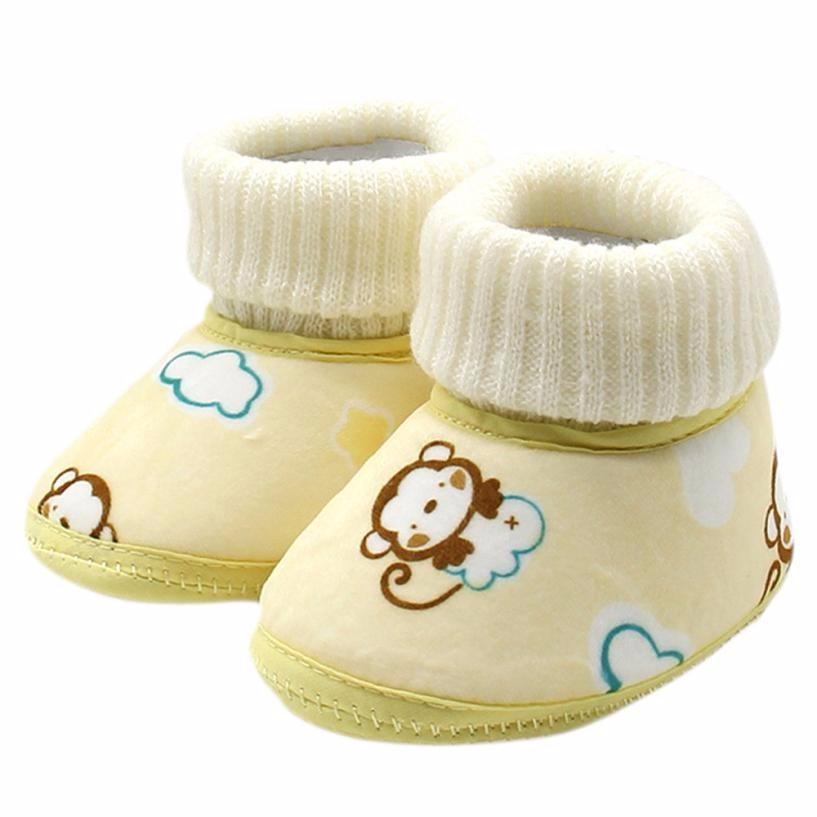 24f3d5b45fa9c 2017 Pink Blue Yellow Toddler Newborn Baby Monkey Print Boots Soft Sole  Snow Prewalker Shoes baby boots winter bota infantil #JY