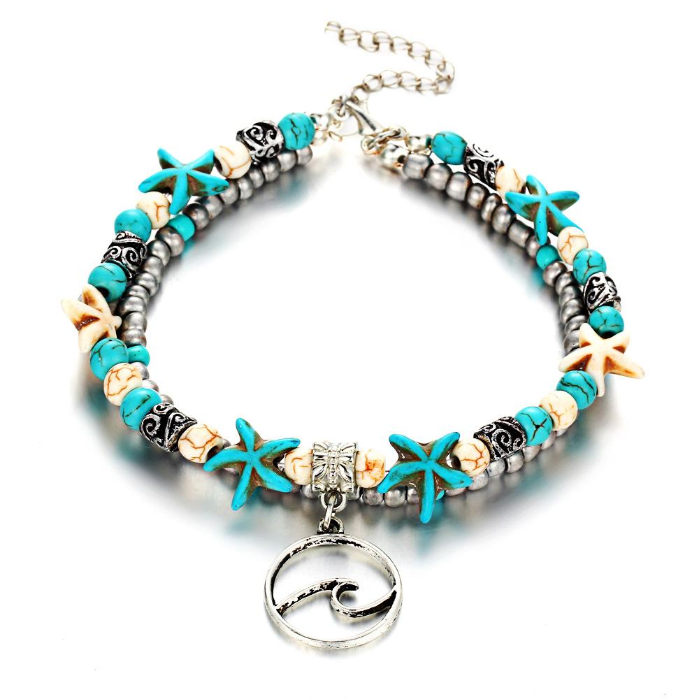 de92b11b386 2019 Blue Starfish Bead Anklets For Women Bohemian Ethnic 2 Layered  Handmade Beads Elephant Tortoise Charm Ankle Bracelet From Getitnow