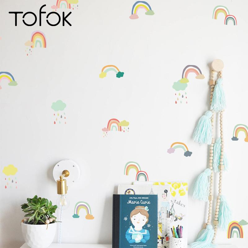 tofok cartoon rainbow wall stickers transparent pvc children room