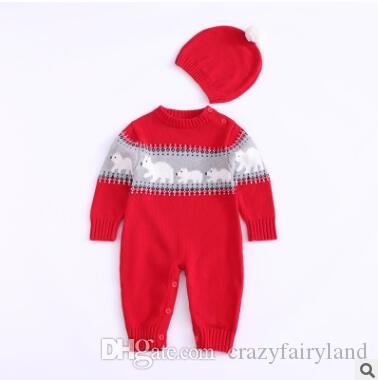 259d47ef9 2019 Baby Boys Girls Rompers With Pompom Cap Knitted Bear Toddler ...