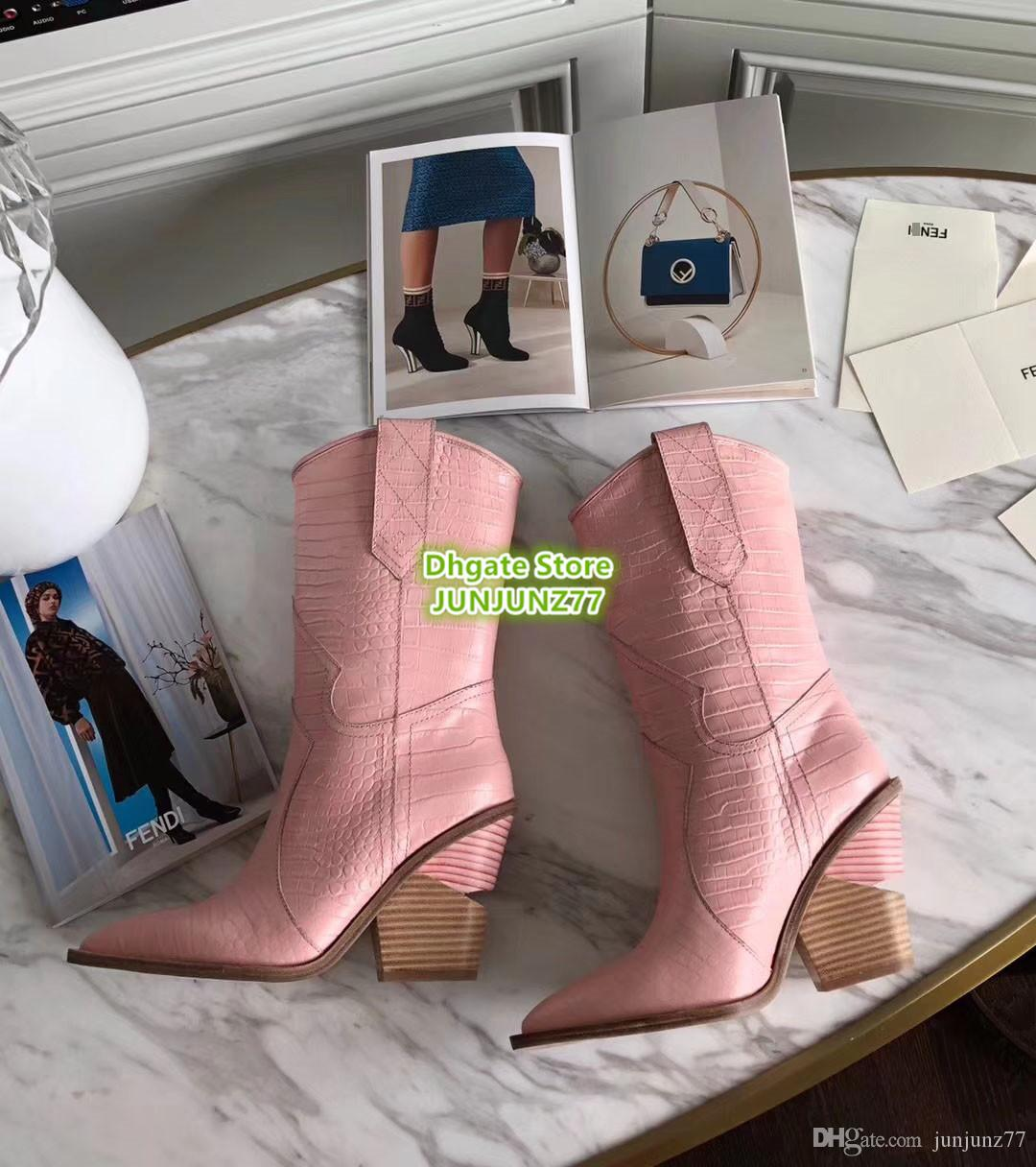 27dde7ea68b Pink Crocodile Embossed Ankle Boots Pointed Toe Cowboy Booties High Quality  Genuine Leather Classic Female High End Custom High Heel Shoes Brown Boots  ...