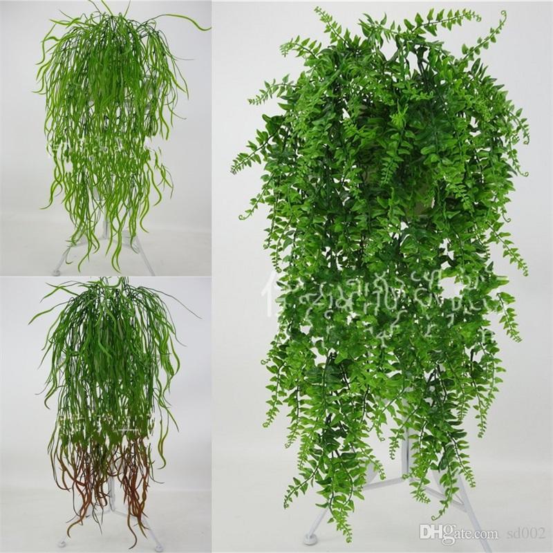 Décor de mariage Plastique Plante Artificielle Vert Tenture Mur Rotin Creative Accueil Hôtel Favor Simulation Décor Fleur Vigne Accessoire 7 6y YY