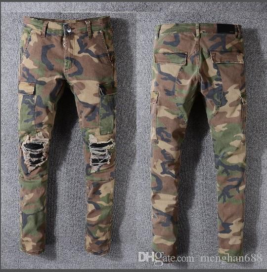 Großhandel Denim Herren Camouflage Taschen Schlank Biker Jeans ...