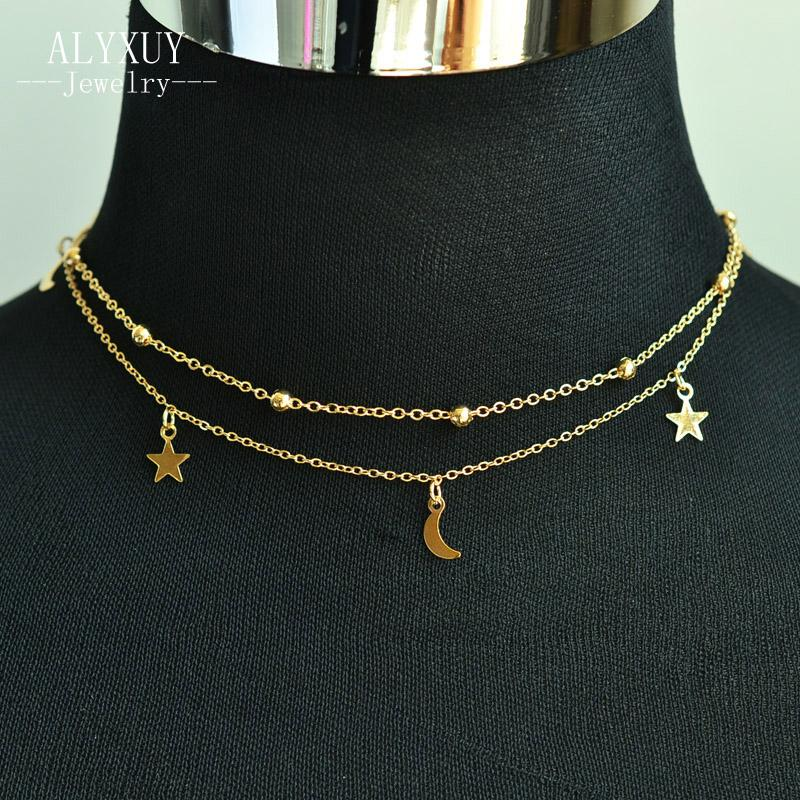 c35c6364c24213 2019 New Fashion Jewelry 2 Layer Star Moon Choker Necklace Nice Gift For Women  Girl Order Have 15% Off N2076 From Handanxuebu, $19.24 | DHgate.Com