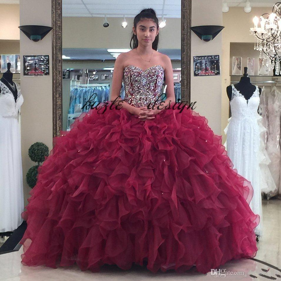 e5cddea818 2018 Burgundy Ball Gown Quinceanera Dresses Crystals Prom Gowns Sweetheart  Lace Up Back Rhinestones Sweet 16 Dress Elegant Dresses Masquerade Dresses  From ...