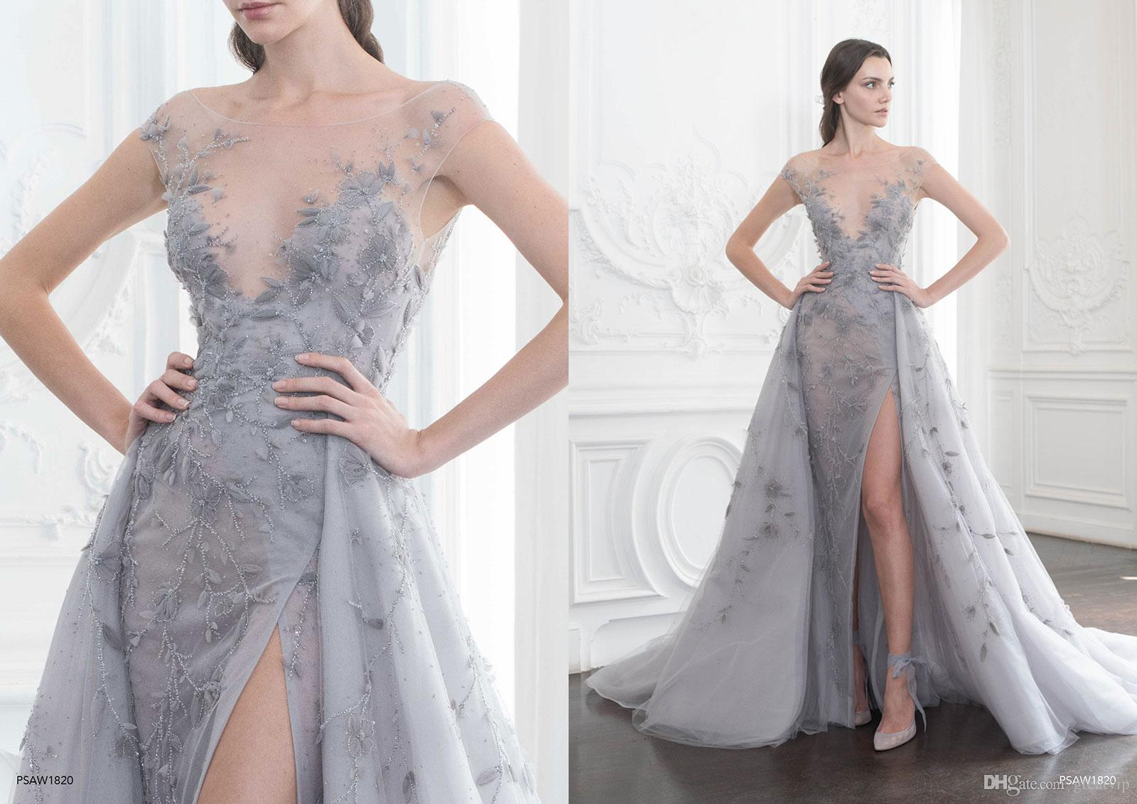 Paolo sebastian prom dresses a line lace applique sheer neck