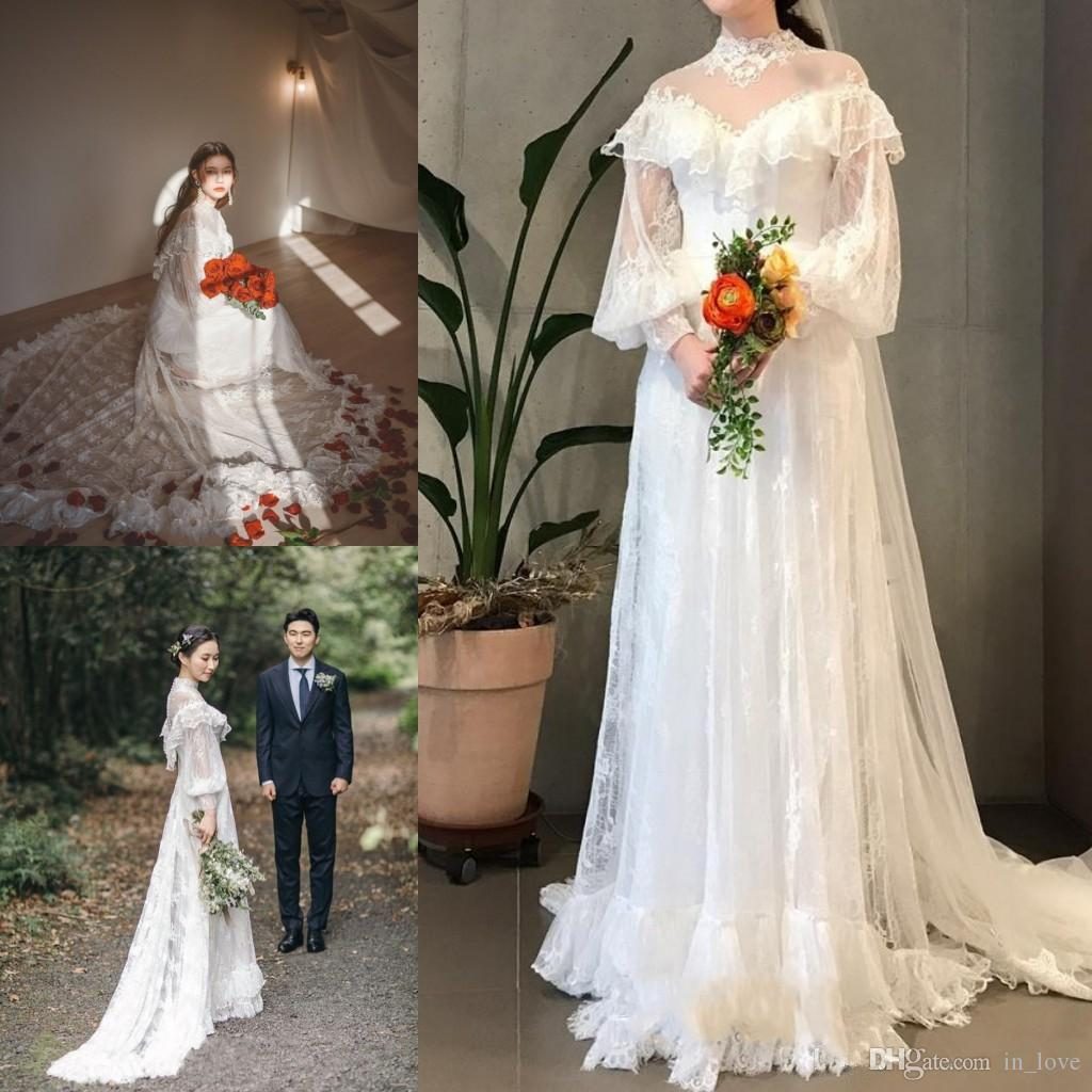 Discount Vintage Victoria Style Wedding Dress High Collar Sheer Neck