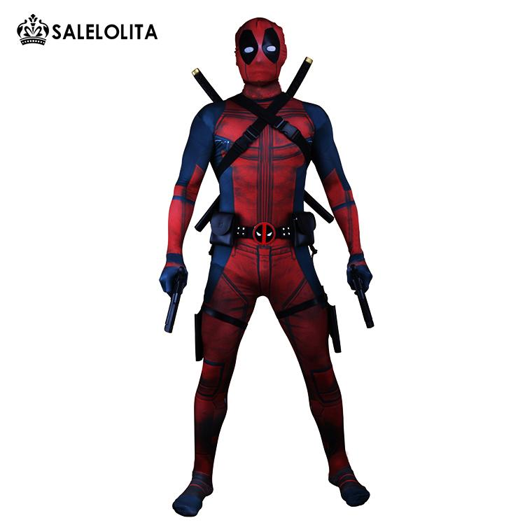 (Clothes+Equipment)Deadpool Costume Adult Man Cosplay Deadpool Costumes Wade Wilson Spandex Lycra Nylon Zentai Bodysuit Hallowee