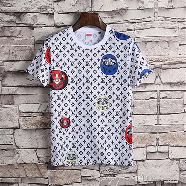fabd8ddd3a6 Brands Men Fashion Cartoon Print Casual Cotton Summer Short Sleeve ...