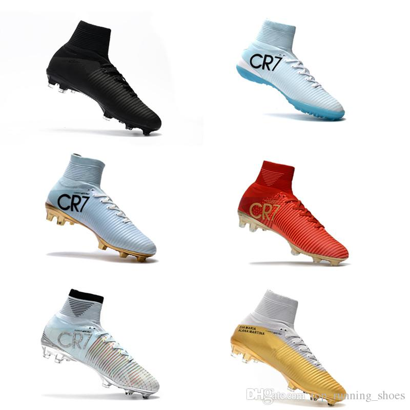 500dc703fb9 2017 Hot Kids Soccer Cleats CR7 Cristiano Ronaldo Mens Mercurial Superfly  FG Football Boots Women Soccer Sneakers Shoes Youth Triple Black