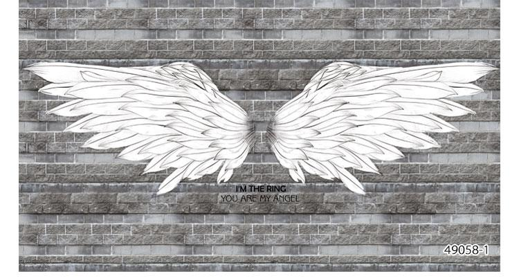 Black And White Angel Wings Brick Background Wallpaper 3d Bar