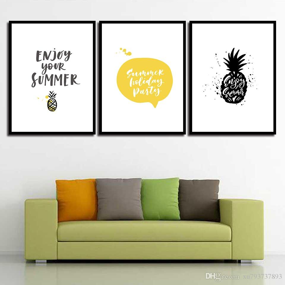 Painting Print HD Picture Watercolor Canvas Poster Cartoon Pineapple Nordic Wall Art Living Room Bedroom Bedside Home Decor