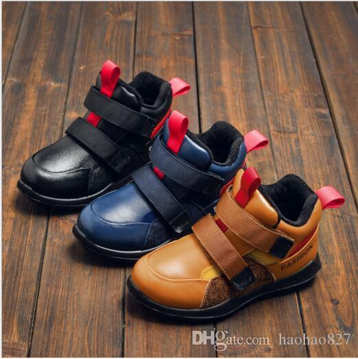 2018 New Winter Kids Snow Boots Boy Martin Boots Genuine Leather Shoes High  Quality Comfortable Warm Casual Shoes Children Cotton Shoes Children s Boys  And ... 52620bf3c046