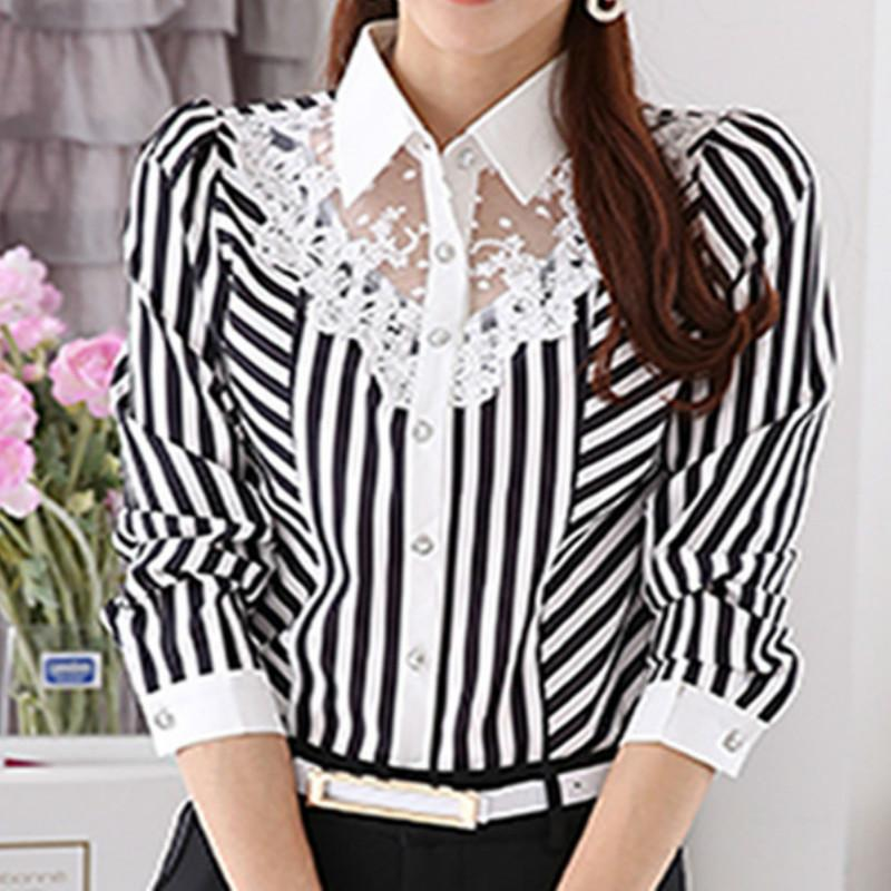 5b8f9401700 2019 Office Work Ladies Blusas 2019 Elegant Women Lace Striped Blouses Long  Sleeve Turn Down Collar Shirts Tops Femme Plus Size GV501 From Feeling01