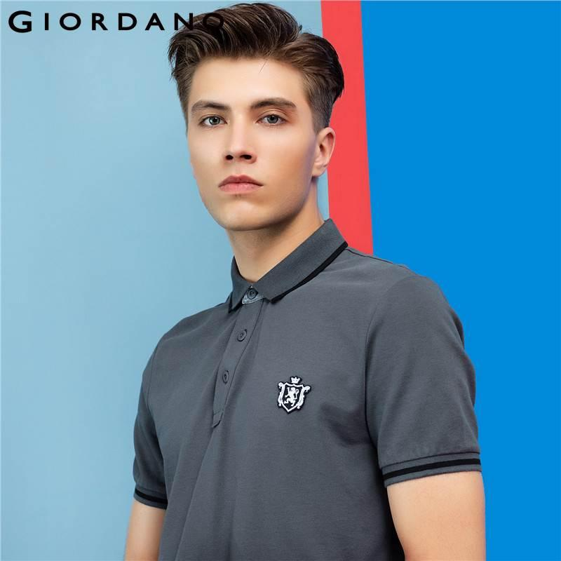 2019 Giordano Men Shirt Short Sleeves Ribbed Collar Shirts Roundneck
