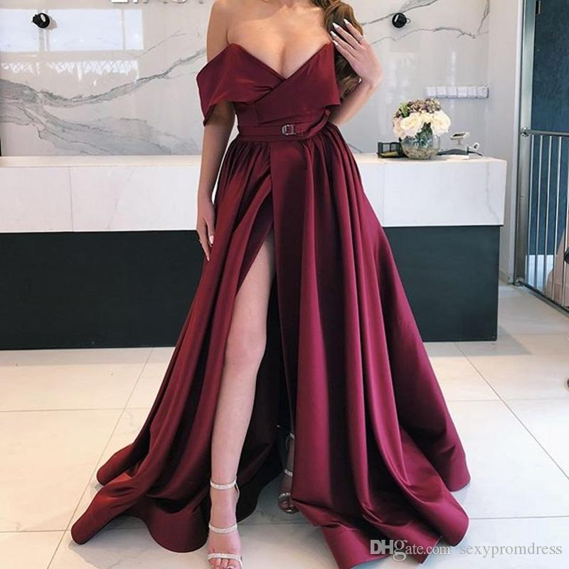9a4162fac29 Burgundy Off The Shoulder Prom Dresses Sexy Low Cut High Split Evening  Gowns Satin Floor Length Formal Party Dress Women Formal Wear Wholesale Prom  Dresses ...