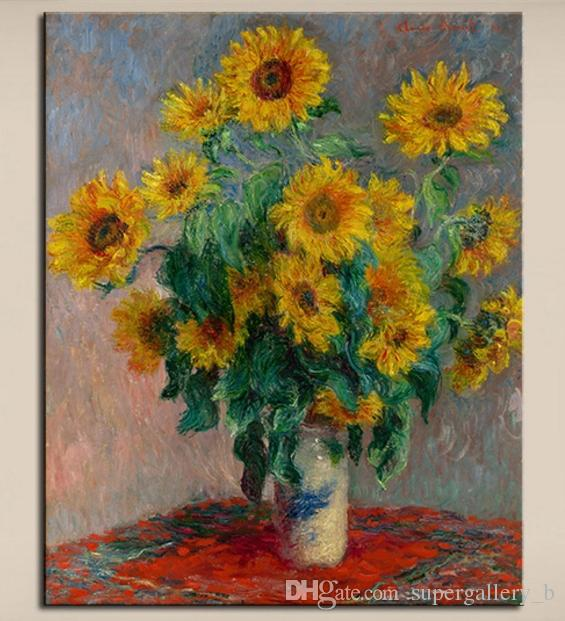2019 Claude Monet Vase Of Sunflowers Hand Painted